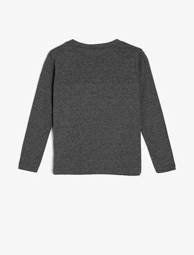 Koton Kids Yazılı Baskılı T-Shirt Gri